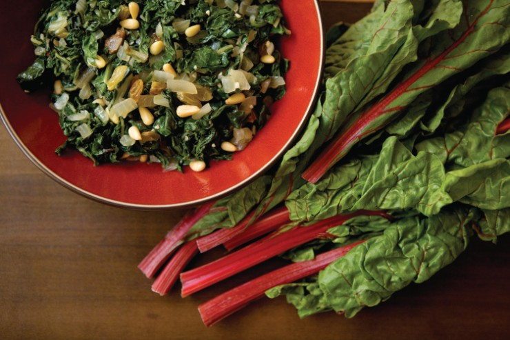 Swiss Chard with Pine Nuts and Golden raisins