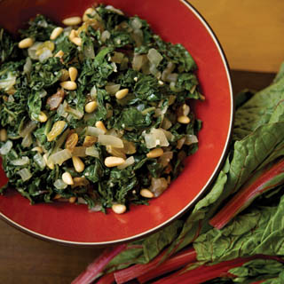 Swiss Chard with Pine Nuts and Golden raisins recipe