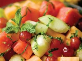 Fresh Fruit with Honey Lime Mint Dressing recipe