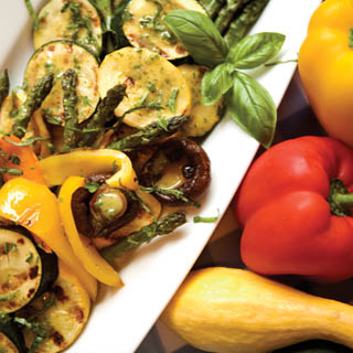 Grilled Vegetables with Basil Vinaigrette recipe