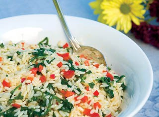 Rice With Spinach, Red Pepper and Feta Cheese recipe