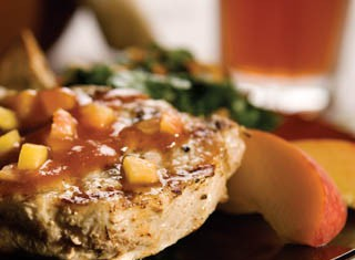 Grilled pork Chops with Bourbon-Peach BBQ Sauce recipe