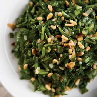 Spring Turnip Greens with Pine Nuts and Spicy Peppers recipe