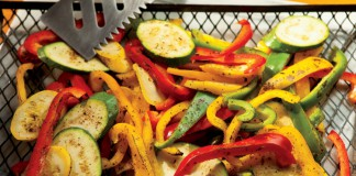 Grilling vegetables, peppers, squash, zucchini