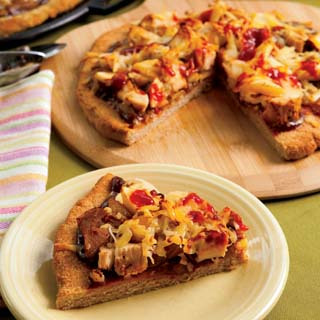 BBQ Chicken Pizza with Caramelized Onions and Apples