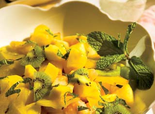 Tropical Fruit Salad with Creamy Lime Mint Topping