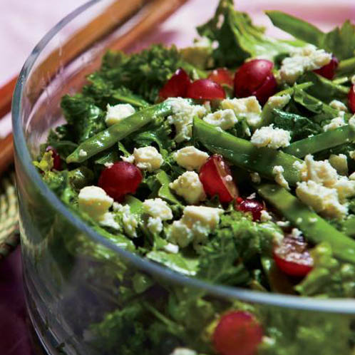 Mixed Greens With Snow Peas, Grapes and Feta Recipe