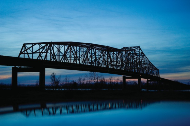 Dyer County bridge crossing the Mississippi River between Memphis and Cairo, Illinois.