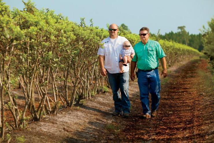 The Cornelius family at J&B Blueberry Farms in Georgia