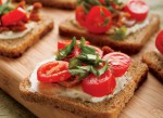 Open Faced Bacon, Tomato and Basil Sandwiches