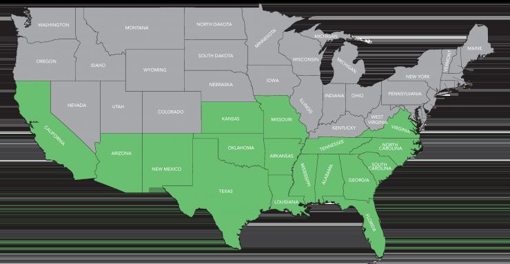 Cotton States Map
