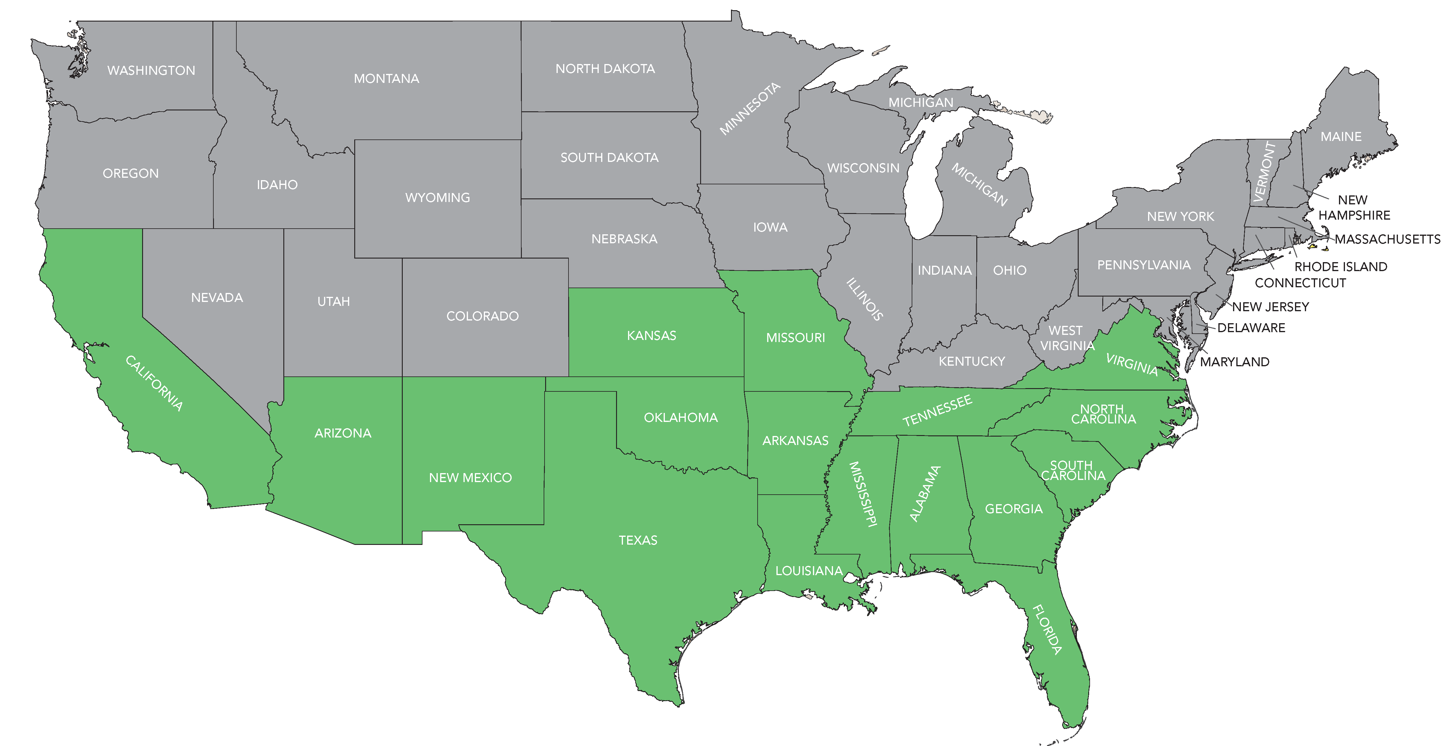 Map showing states in U.S. where cotton is grown