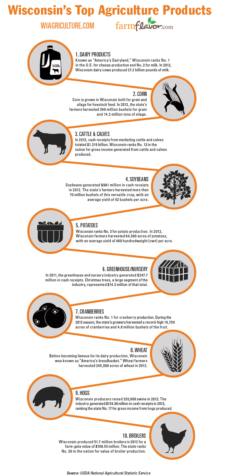 Wisconsin U0026 39 S Top 10 Agricultural Commodities  Infographic