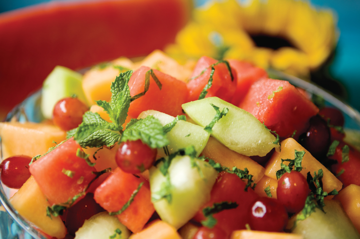 Fresh Fruit with Honey Lime Mint Dressing