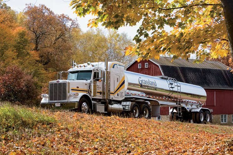 A milk tanker picks up milk from a Wisconsin dairy farm. Grassland Dairy produces about 25 percent of the butter made in the United States.