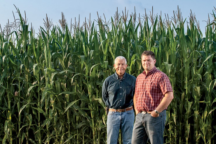 Terry McClure and his son Ryan on McClure Farms in Grover Hill, Ohio